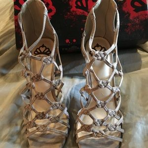 Tan Knotted Heel Sandals